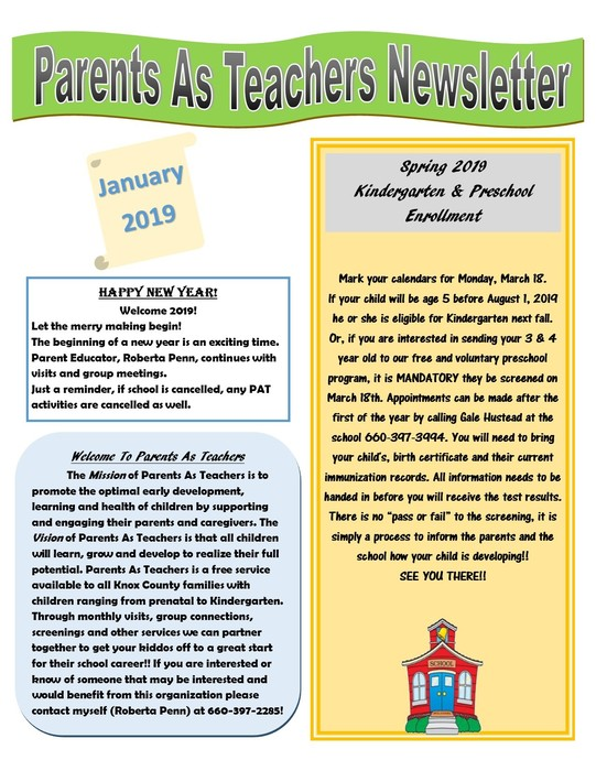 Parents As Teachers January Newsletter