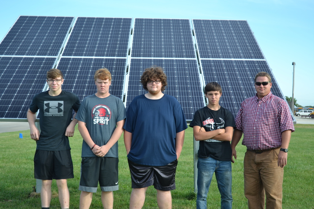Students involved in the solar panel project.